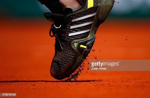 A detailed view of Andy Murray of Great Britain's shoe during his Men's Singles match against Jeremy Chardy of France on day nine of the 2015 French...