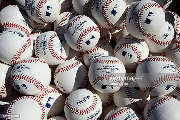 A detailed view of baseballs in a basket on the field during batting practice prior to Game Four of the American League Championship Series between...