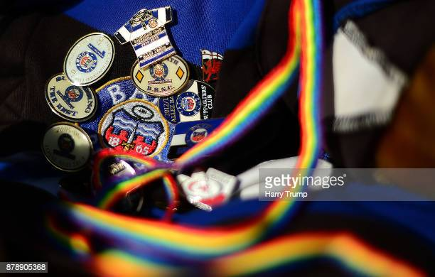 Detailed view of Bath Rugby badges on a shirt with a Rainbow lace during the Aviva Premiership match between Bath Rugby and Harlequins at the...