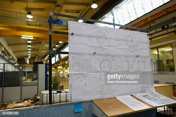 A detailed view of blueprints technical drwaings or engineering design in Building 72 the Mechanical Materials Engineering Department or MME workshop...