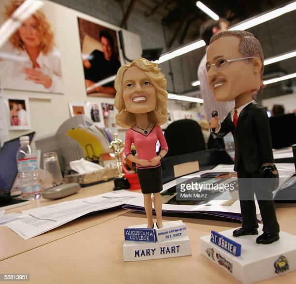 A detailed view of Bobble heads of Mary Hart and Pat O'Brian on a workstation at the studio of 'Inside Entertainment Tonight' at Paramount Studios on...