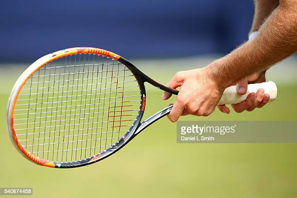 Detailed view of Brydan Klein of Great Britain's raquet in his match against Grega Zamlja of Slovakia during the Aegon Ilkley Trophy at Ilkley Lawn...
