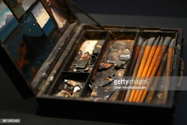 A detailed view of Camille Carot's painting box which Maris bought and used seen during a special exhibition held at the Rijksmuseum Exhibition on...