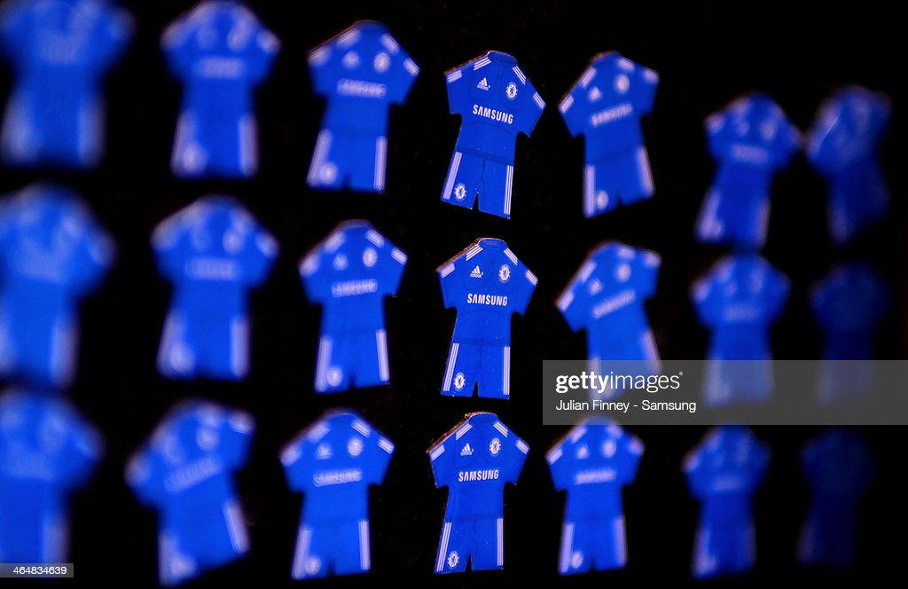A detailed view of Chelsea pins is seen ahead of the Barclays Premier League match between Chelsea and West Bromwich Albion at Stamford Bridge on November 9, 2013 in London, England.