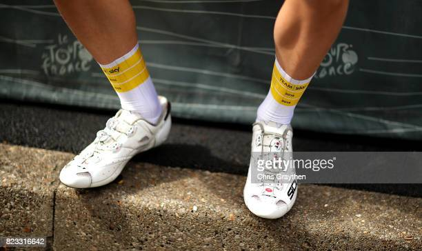 A detailed view of Christian Knees of Germany and Team Sky ahead of stage twenty one of Le Tour de France 2017 on July 23 2017 in Paris France