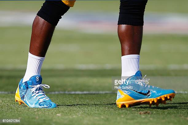 A detailed view of cleats worn by Antonio Brown of the Pittsburgh Steelers is seen during warm ups before playing against the Philadelphia Eagles at...