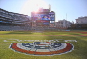 A detailed view of Comerica Park on Opening Day prior to the start of the game between the Kansas City Royals and the Detroit Tigers on March 31 2014...