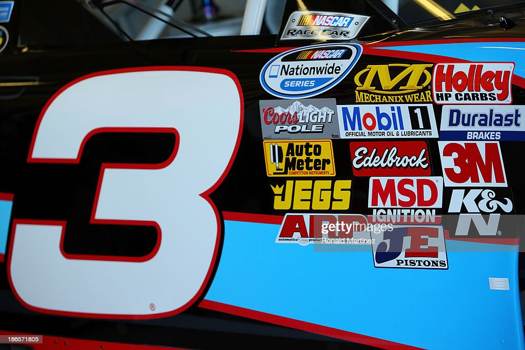 Detailed view of contingency sponsor decals on the AdvoCare Chevrolet driven by Austin Dillon during practice for the NASCAR Nationwide Series...