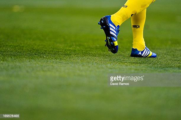 A detailed view of Dani Alves of FC Barcelona's boots during the La Liga match between RCD Espanyol and FC Barcelona at CornellaEl Prat Stadium on...