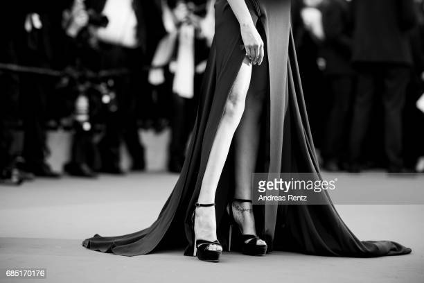 A detailed view of Deepika Padukone is pictured at the 'Loveless ' screening during the 70th annual Cannes Film Festival at Palais des Festivals on...