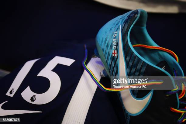 A detailed view of Eric Dier of Tottenham Hotspur's kit with rainbow laces prior to the Premier League match between Tottenham Hotspur and West...