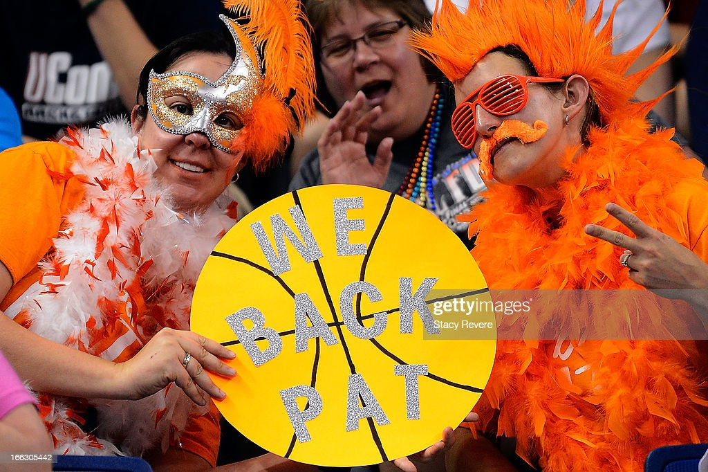 Detailed view of fans prior to the National Final game of the 2013 NCAA Division I Women's Basketball Championship at New Orleans Arena on April 9, 2013 in New Orleans, Louisiana between the Connecticut Huskies and the Louisville Cardinals.