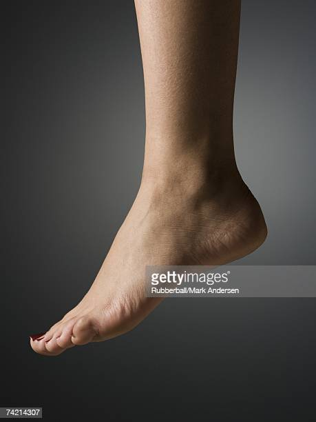 Detailed view of female bare foot and heel profile
