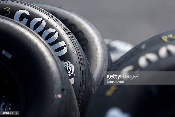 A detailed view of Goodyear racing tires with 'throwback' logos seen in the garage area during practice for the NASCAR Sprint Cup Series Bojangles'...
