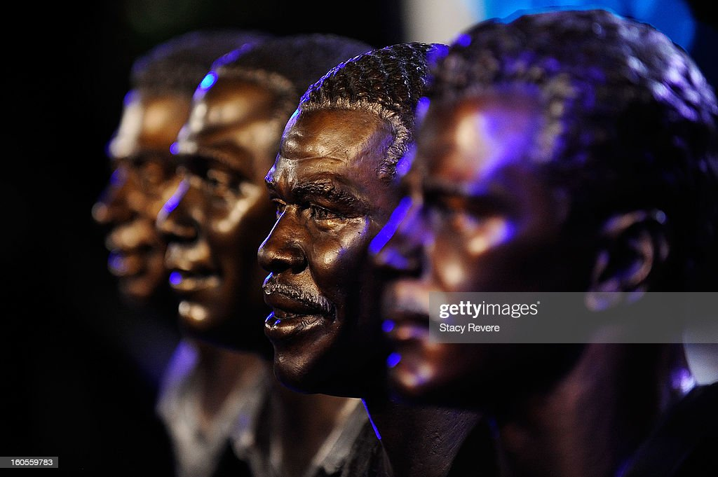 Detailed view of Hall of Fame busts during the Pro Football Hall of Fame Press Conference at the New Orleans Convention Center on February 2, 2013 in New Orleans, Louisiana.
