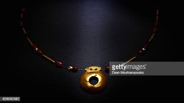 A detailed view of items discovered in Grave No 43 in the Varna Chalcolithic Necropolis together with the numerous gold artefacts dating to the...