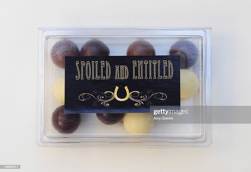 A detailed view of Josie Goldberg's 'Spoiled and Entitled' chocolate Collection on December 19, 2012 in West Hollywood, California.