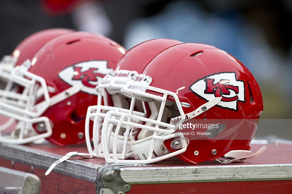 Detailed view of Kansas City Chiefs helmets on the sidelines before the game against the Oakland Raiders at O.co Coliseum on December 16, 2012 in Oakland, California. The Oakland Raiders defeated the Kansas City Chiefs 15-0. Photo by Jason O. Watson/Getty Images)