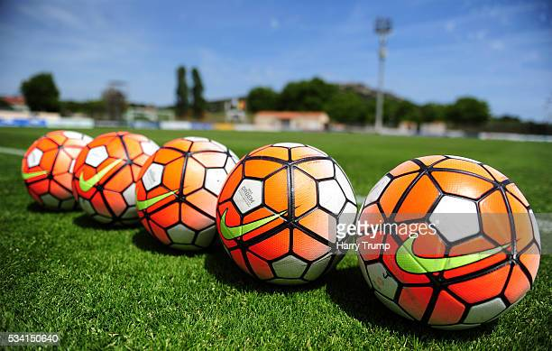 Detailed view of match balls on the pitch during the Toulon Tournament match between Guinea and Japan at Stade Antoinr Baptiste on May 25 2016 in...
