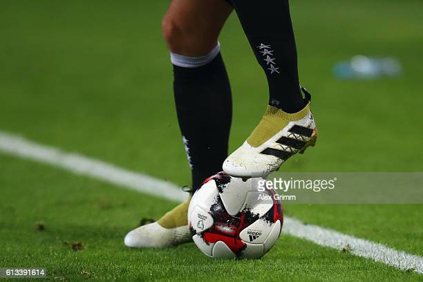 A detailed view of Mesut Oezil of Germany controlling the ball during the FIFA World Cup 2018 qualifying match between Germany and Czech Republic at...