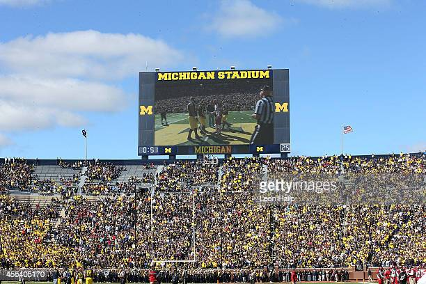 A detailed view of Michigan Stadium during the game between the Miami University Redhawks and the Michigan Wolverines on September 13 2014 in Ann...