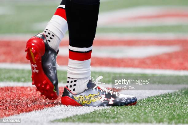 A detailed view of Mohamed Sanu of the Atlanta Falcons' cleats prior to the game against the Buffalo Bills at MercedesBenz Stadium on October 1 2017...