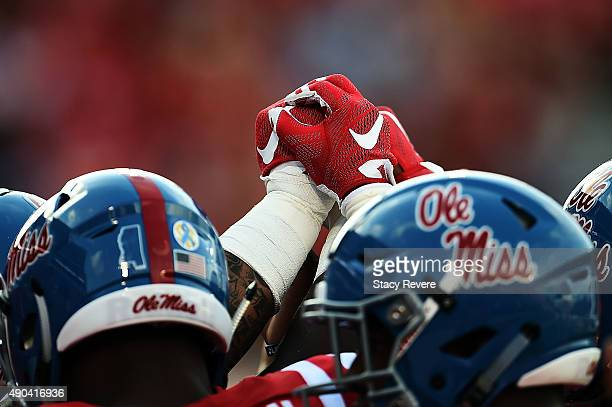 A detailed view of Nike gloves worn by members of the Mississippi Rebels prior to a game against the Vanderbilt Commodores at VaughtHemingway Stadium...
