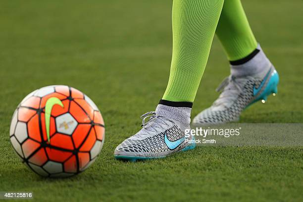 A detailed view of Nike shoes and Nike soccer ball before Mexico plays against Jamaica in the CONCACAF Gold Cup Final at Lincoln Financial Field on...