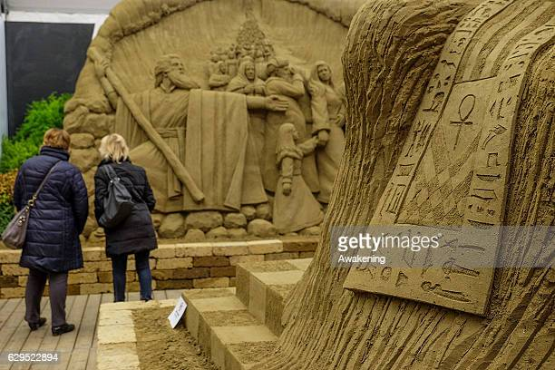 A detailed view of one of the sculptures at the Jesolo Sand Nativity 2016 on December 13 2016 in Jesolo Italy