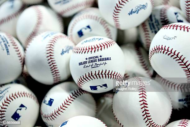 A detailed view of practice baseballs in a basket during batting practice prior to game five of the American League Championship Series between the...