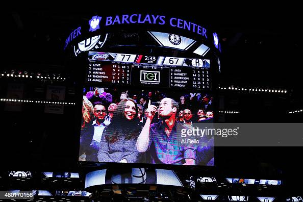 A detailed view of Prince William Duke of Cambridge and Catherine Duchess of Cambridge on the Jumbotron duirng the game between the Cleveland...
