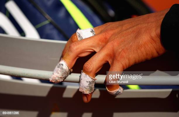 A detailed view of Rafael Nadals hand during the mens singles final against Stan Wawrinka of Switzerland on day fifteen of the 2017 French Open at...