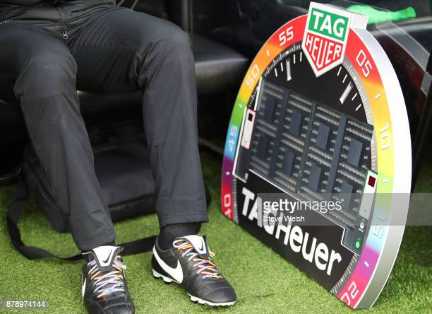 A detailed view of rainbow laces and the fourth official's board prior to the Premier League match between Newcastle United and Watford at St James...