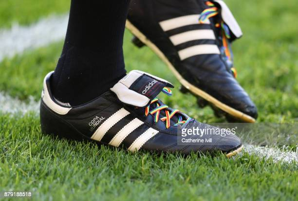 Detailed view of Rainbow laces during the Premier League match between Swansea City and AFC Bournemouth at Liberty Stadium on November 25 2017 in...
