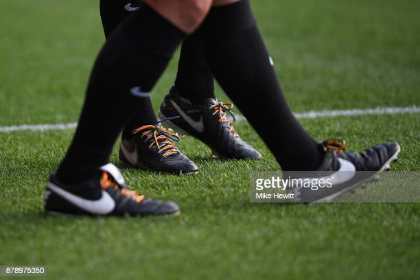 A detailed view of rainbow laces prior to the Premier League match between Crystal Palace and Stoke City at Selhurst Park on November 25 2017 in...
