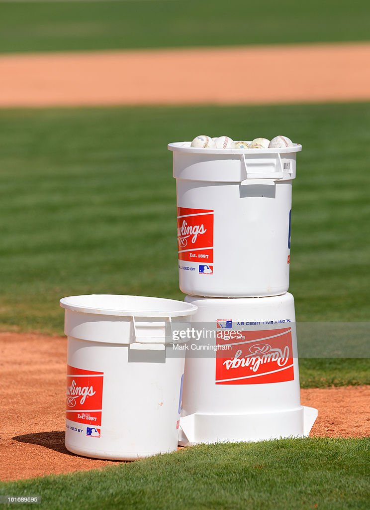 A detailed view of Rawlings baseball buckets sitting on the field during the Detroit Tigers Spring Training workouts at the TigerTown Facility on February 13, 2013 in Lakeland, Florida.