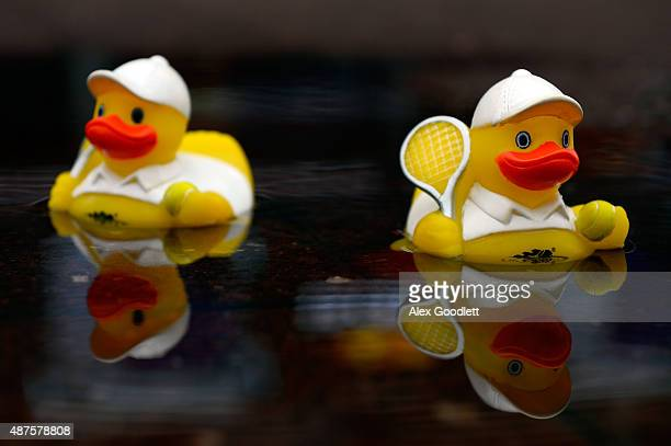 A detailed view of rubber ducks floating in a puddle as rain falls on Day Eleven of the 2015 US Open at the USTA Billie Jean King National Tennis...