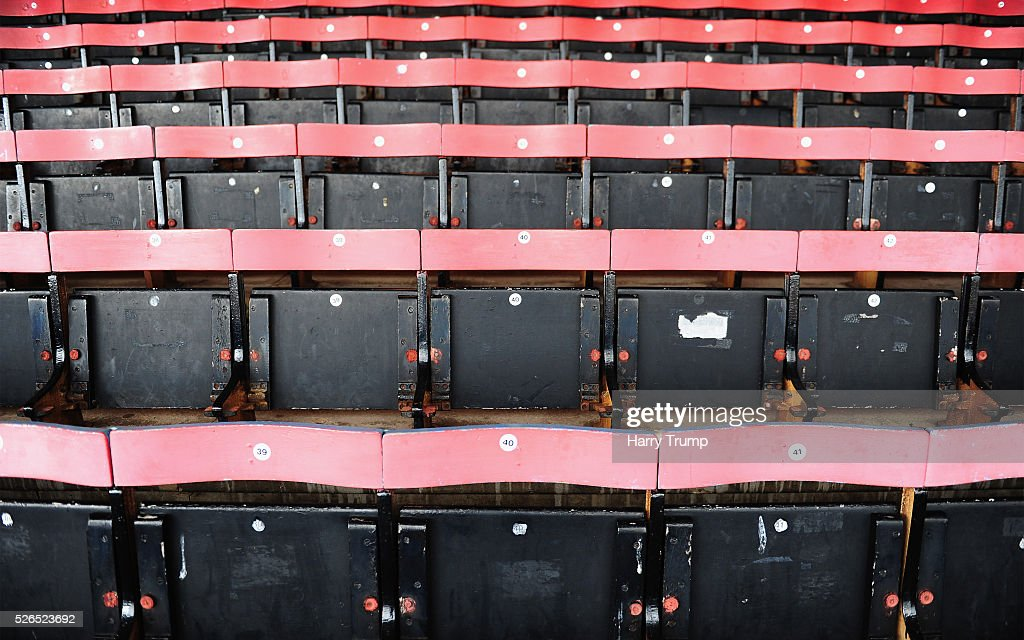 Detailed view of seating in the main stand during the Vanarama Football Conference match between Cheltenham Town and Lincoln City at the World of Smile Stadium on April 30, 2016 in Cheltenham, England.