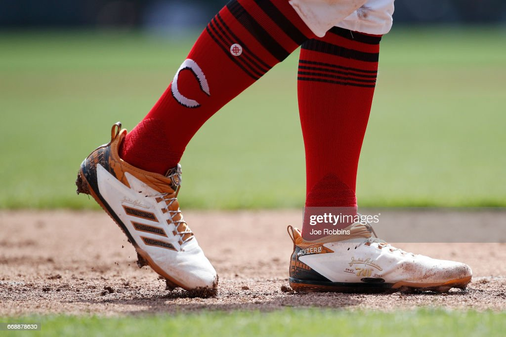 Detailed view of shoes worn in honor of Jackie Robinson Day by Zack Cozart #2 of the Cincinnati Reds during a game against the Milwaukee Brewers at Great American Ball Park on April 15, 2017 in Cincinnati, Ohio.