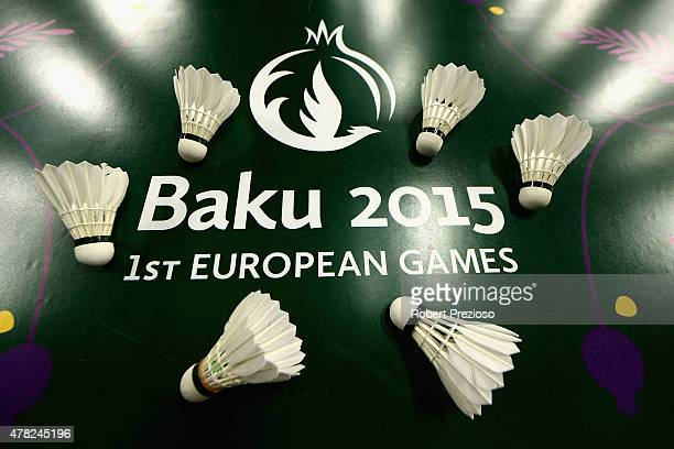 A detailed view of Shuttlecocks at Badminton during day twelve of the Baku 2015 European Games at the Baku Sports Hall on June 24 2015 in Baku...