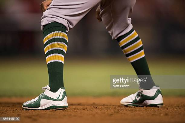 A detailed view of socks worn by Khris Davis of the Oakland Athletics during the game against the Los Angeles Angels of Anaheim at Angel Stadium of...