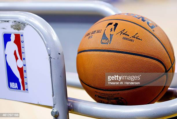A detailed view of Spalding basketballs sitting in the rack prior to an NBA game between the Cleveland Cavaliers and Golden State Warriors at ORACLE...