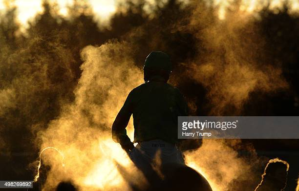 Detailed view of steam coming from a horse and rider at Exeter Racecourse on November 22 2015 in Exeter England