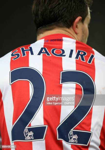 A detailed view of Stoke City's Xherdan Shaqiri's strip