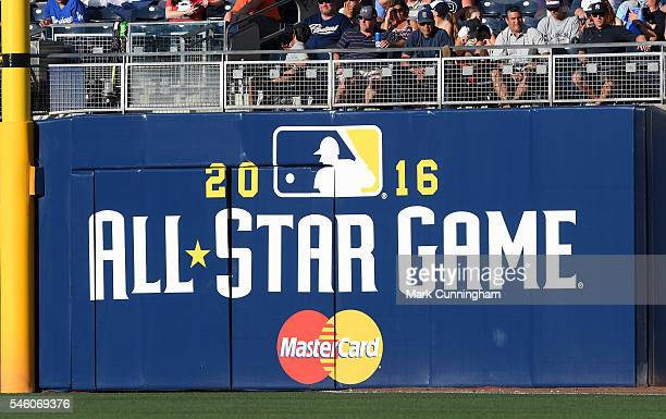 A detailed view of the 2016 AllStar Game sign on the outfield wall during the SiriusXM AllStar Futures Game at PETCO Park on July 10 2016 in San...