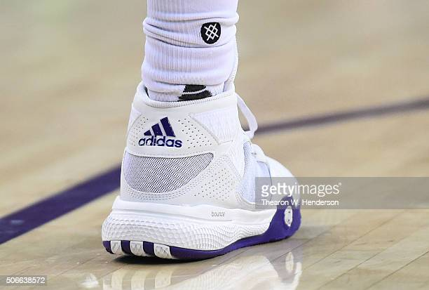 A detailed view of the Adidas basketball shoes worn by Darren Collison of the Sacramento Kings against the Indiana Pacers during an NBA basketball...