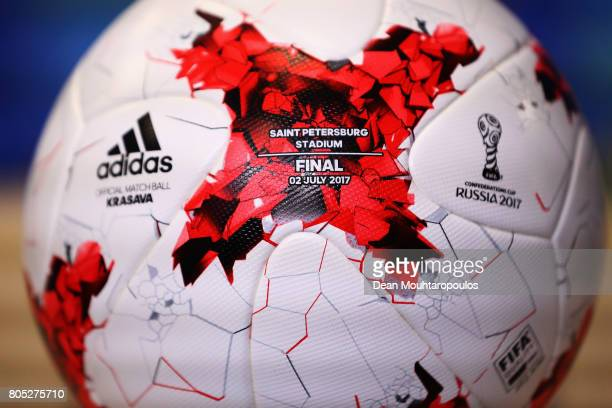 A detailed view of the adidas match ball which will be used in the Final between Germany and Chile during a press conference of the Chiliean national...