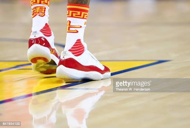 A detailed view of the Air Jordan's XI worn by Briante Weber of the Golden State Warriors against the Chicago Bulls during an NBA basketball game at...