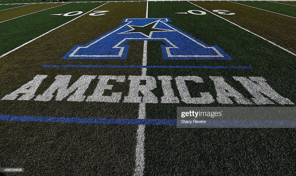 Detailed view of the American conference logo on the field prior to a game between the Tulane Green Wave and the Cincinnati Bearcats at Yulman Stadium on October 31, 2014 in New Orleans, Louisiana.
