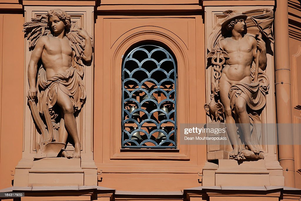 A detailed view of The Art Museum 'Riga Bourse' in Dome Square on March 22, 2013 in Riga, Latvia.